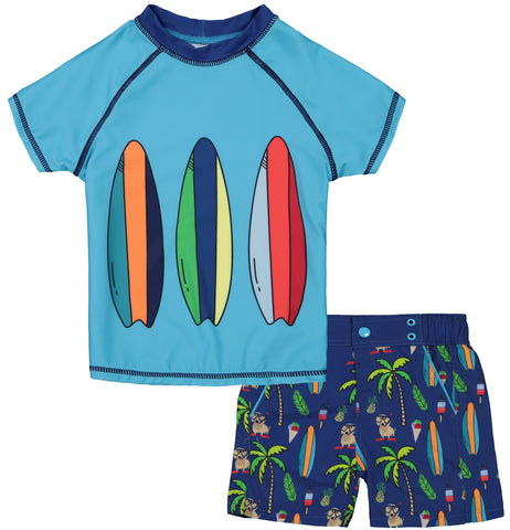 Andy & Evan Blue Surf Boys 2pc Rashguard Set