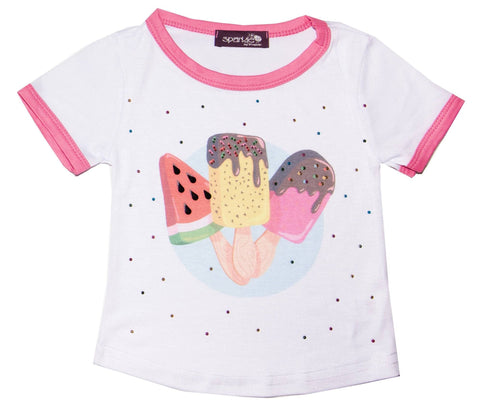 Sparkle by Stoopher Ice Cream Hot Pink Ringer S/S Jersey Tee
