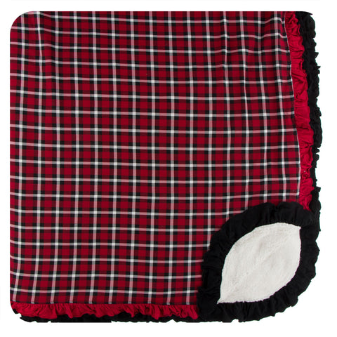 KicKee Pants Crimson 2020 Holiday Plaid Sherpa-Lined Double Ruffle Throw Blanket