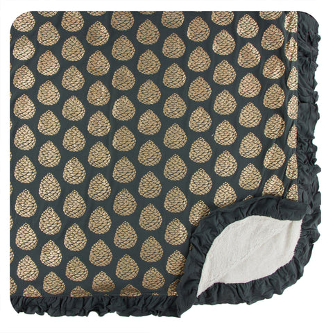 KicKee Pants Pewter Pinecones Sherpa-Lined Double Ruffle Throw Blanket
