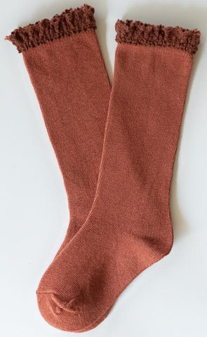 Little Stocking Co Rust Lace Top Knee High Socks