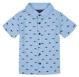 Andy & Evan Blue Knit Shark Print Button Down