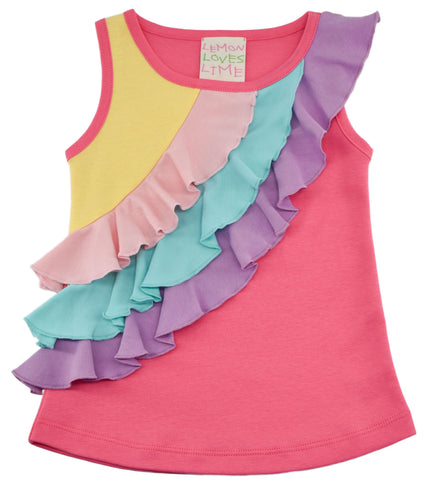 Lemon Loves Lime Three Tiered Rainbow Ruffle Tank