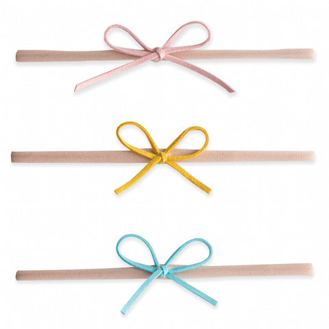 Baby Bling 3 Pack Suede Cord Headband Set-Pink/Mustard/Aqua - Basically Bows & Bowties