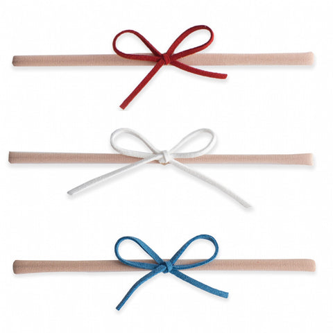 Baby Bling 3 Pack Suede Cord Headband Set-Red/White/Denim - Basically Bows & Bowties