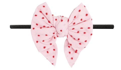 Baby Bling Pink w/Red Shabby Dot DEB Skinny Headband - Black Band