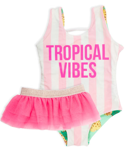 Shade Critters Pink Pineapple Stripe Reversible Print Tank One Piece