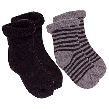 Kushies 2 Pack Terry Newborn Sock Set - Black