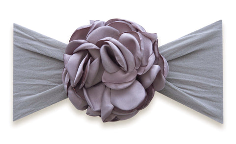 Baby Bling Grey Silk Ruffle Flower Headband