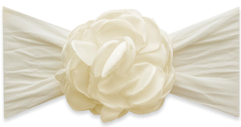Baby Bling Ivory Silk Ruffle Flower Headband