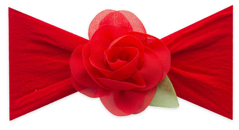 Baby Bling Cherry Small Rosette w/Leaf Headband