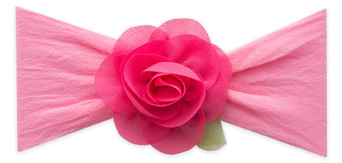 Baby Bling Hot Pink Small Rosette w/Leaf Headband