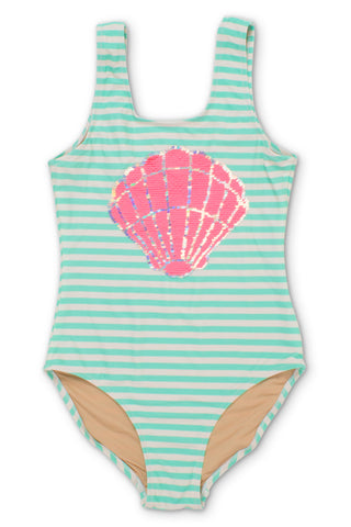 Shade Critters Magic Two-Way Sequins Mermaid Shell Scoop Swimsuit