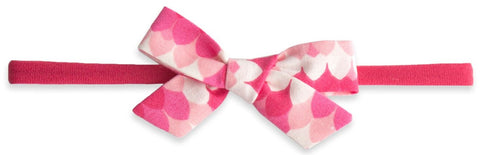 Baby Bling Pink Scallop Cotton Print Skinny Bow Headband