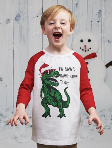Crumbs Kids Clothing Dinosaur Santa L/S Tee