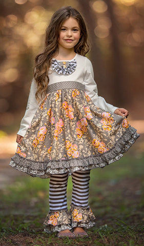 Serendipity Stone & Vine Party Dress & Ruffle Legging Set
