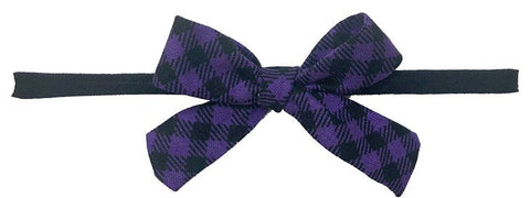 Baby Bling Black Purple Plaid Cotton Print Skinny Bow Headband
