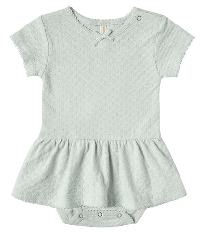 Quincy Mae Seaglass Pointelle Skirted Onesie