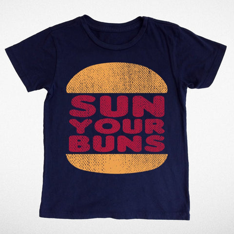 Tiny Whales Sun Your Buns Navy Tee