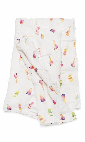 LouLou Lollipop Ice Cream Social Muslin Swaddling Blanket Bascially Bows & Bowties