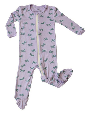 Silkberry Baby Bamboo Printed Footie w/Zipper-Unicorn
