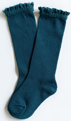 Little Stocking Co Deep Teal Lace Top Knee High Socks