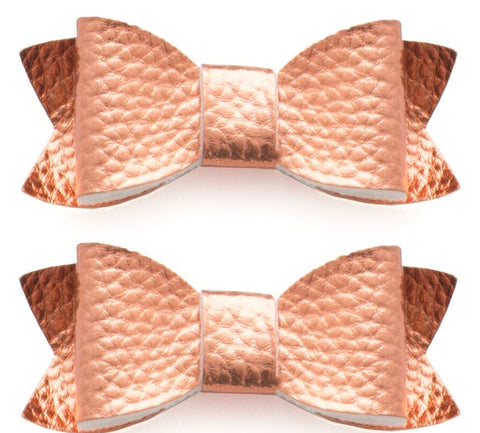 Baby Bling Leather Bow Tie Clip Set-Rose Gold - Basically Bows & Bowties