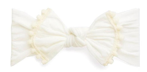 Baby Bling Ivory Classic Knot w/Pom Trimmed Headband Basically Bows & Bowties