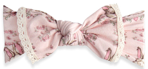 Baby Bling Furry Friends Lace Trimmed Knot Headband - Basically Bows & Bowties