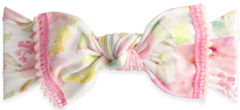 Baby Bling Posey Mini Pom Trimmed Knot Headband - Basically Bows & Bowties