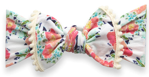 Baby Bling Blush Bouquet Trimmed Printed Knot Headband