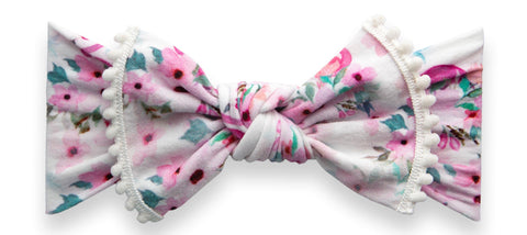 Baby Bling Flamingo Floral Trimmed Printed Knot Headband
