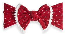 Baby Bling Cherry Shabby Dot Pom Trimmed Knot Headband - Basically Bows & Bowties