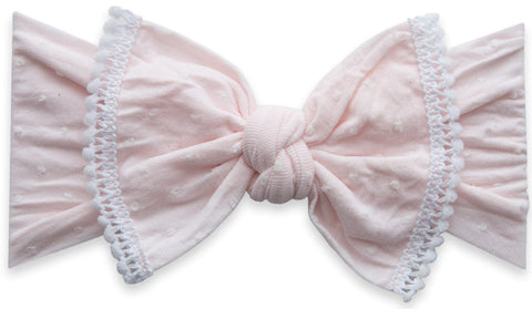 Baby Bling Peony Shabby Dot Mini Pom Trimmed Knot Headband
