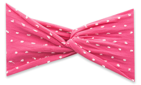 Baby Bling Shabby Hot Pink Dot Twist Headband Basically Bows & Bowties