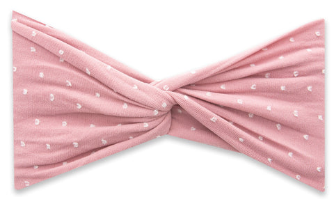 Baby Bling Shabby Mauve Dot Twist Headband Basically Bows & Bowties