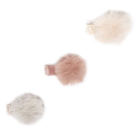 iloveplum Teddy Mini Faux Fur Hair Clip Set - Basically Bows & Bowties