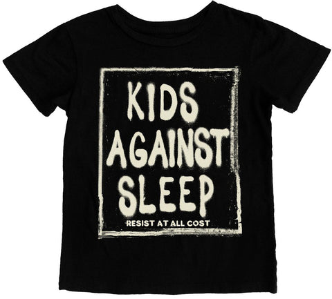 Tiny Whales Kids Against Sleep Black Tee