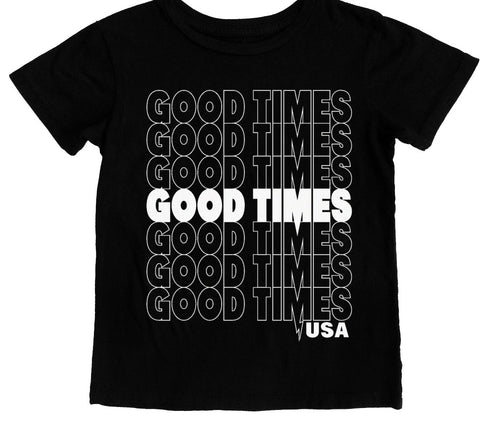 Tiny Whales Good Times USA Black Tee