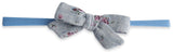 Baby Bling Denim Linen Floral Cotton Print Skinny Bow Headband - Basically Bows & Bowties