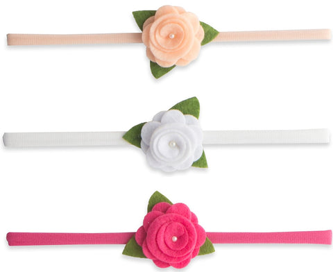 Baby Bling Felt Flower Skinny Bow Headband 3 Pack-Peach/White/Hot Pink - Basically Bows & Bowties