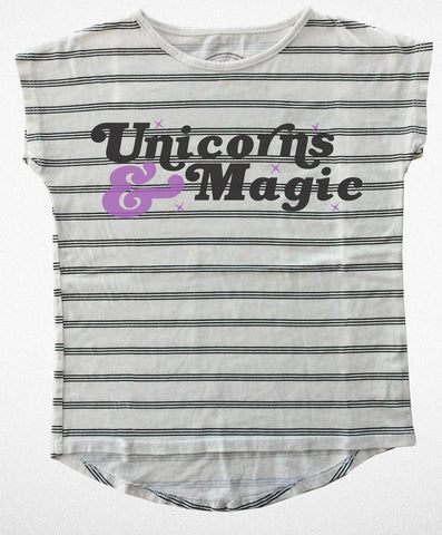 Tiny Whales Unicorns & Magic Dolman Natural Stripe Tee