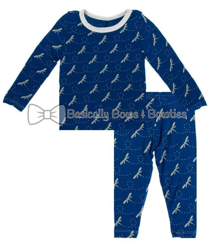 KicKee Pants All Over Navy Dragonfly Long Sleeve Pajama Set