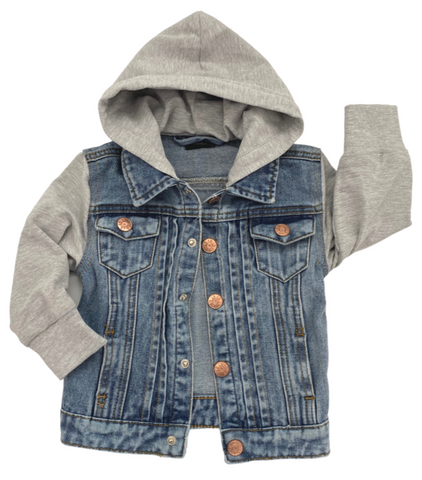 Little Bipsy Grey Hooded Denim Jacket