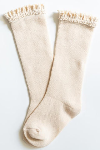 Little Stocking Co Vanilla Cream Lace Top Knee High Socks