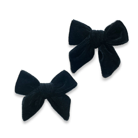 Baby Bling Black Velvet Bow Clip Set Basically Bows & Bowties