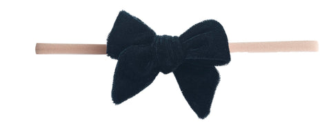 Baby Bling Black Velvet Bow Skinny Headband Basically Bows & Bowties
