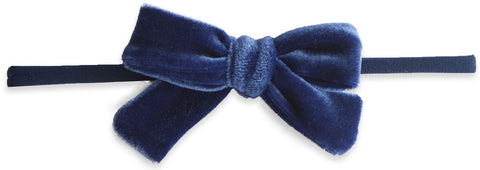 Baby Bling Velvet Bow Skinny Headband-Royal - Basically Bows & Bowties