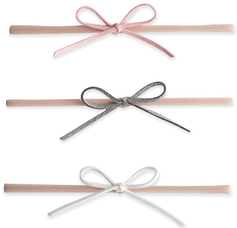 Baby Bling 3 Pack Suede Cord Headband Set-Pink/Grey/White - Basically Bows & Bowties