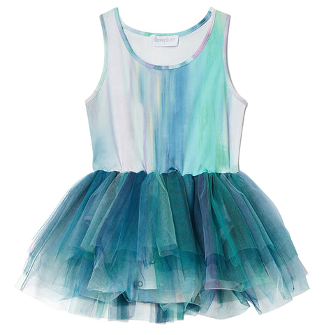 iloveplum Alba Teal B.A.E. Watercolor Tutu Dress